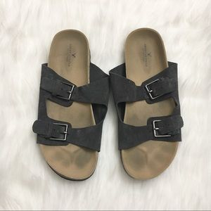 American Eagle Slip On Two Strap Buckle Sandals